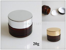Wholesale 100pcs g amber glass jar with gold silver black lid cc Empty Glass Cosmetic Eye Cream Jar