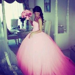 Wholesale Vestidos de anos Quinceanera Dresses Sweetheart Bodice Lace Court Train Ball Gown Vintage Pink Wedding Dresses Debutante Dresses