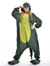 Wholesale Green Dinosaur Unisex Adult Pajamas Soft Flannel Homewear Animal Onesies Cosplay Sleepwear Costumes Kigurumi Jumpsuit Hoodies Christmas Wear