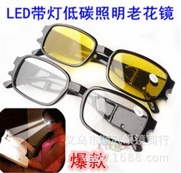 Wholesale Old people LED light reading glasses night reading Vision Care eye protecting strength reading books newspaper black yellow
