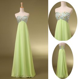 Wholesale Real Image Chiffon Prom Dresses Beads Crystal Empire Lime Green Long Formal Evening Pageant Bridesmaid Gowns Under Cheap