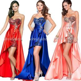 Wholesale Stunning Simply Short Front Long Back Crystal Sheath Graduation Dress Evening Dress Evening Gown