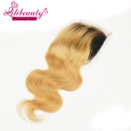 """2017 ombre brazilian loose wave closure Dark Roots 1B 27 Ombre Blonde Peruvian Hair Closure Body Wave 4"""" x 4"""" Hight Denisty Swiss Lace Top Closure Human Hair Extension"""