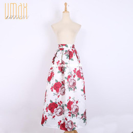 Wholesale 1511 cm Long Skirt New Fashion Vintage Pleated Printed Ball Gown Maxi Skirt Women s Skirt Muslim Skirt With Pocket A141209