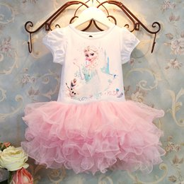Wholesale HOT frozen princess cotton dress anna elsa lace hot pink tutu dress short sleeve frozen pink tulle tutu dress Children Clothing