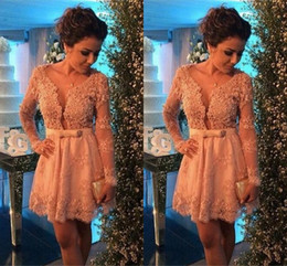 Wholesale 2015 Champagne Lace Cocktail Dresses with Long Sleeves Sexy Short Party Dresses Mini Homecoming Party Gowns Vestidos de Venda