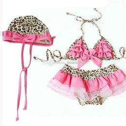 Wholesale 2014 New Baby Girl Bikini Swimwear Summer Beach Swimsuit Cotton Leopard Suits Children Clothing Wrinkled Lace Cap And Split Tutu Swim Sets