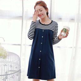 Wholesale Spring Fashion Korean Maternity Dresses Stripe pregnant women dress