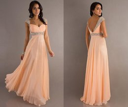 Wholesale 2014 In Stock Prom Dresses Crystal Sweetheart Capped Sleeves Sequins Beading Chiffon Floor length Formal Gowns LK74