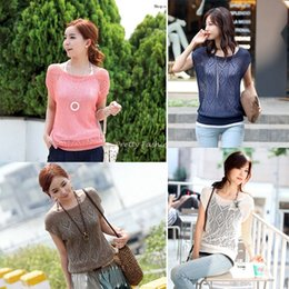 Wholesale 2015 Women Loose Hollow out Short Batwing Sleeve Knit Pullover Jumper Knitwear Sweater Tops