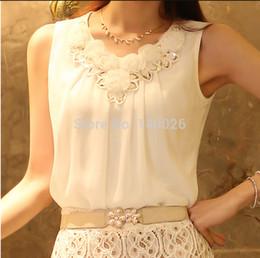 Wholesale 2015 Summer Women Blouse Lace Vintage Sleeveless White Casual Blouses Shirts Lady Tops Plus Size S XXL