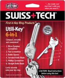 Nouveau + TECH SWISS 6 en 1 Utili-Key couteau pliant Couteau Mini Multitool Keyring Pocket l'A087