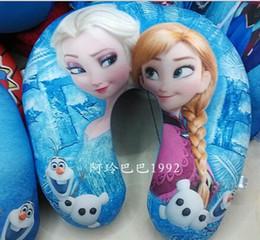Wholesale New cm Hot Sale Kids Foam Particles Frozen Pillows Snow Queen U shape Pillows Elsa Anna Throw Pillow Children Neck Pillow Gift For Kids