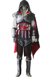 Wholesale 2015 Assassins Creed II Ezio Black Flag Cosplay Auditore da Firenze Black Edition Cosplay Costume Custom Made Any Size For Christmas Party