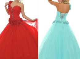 Wholesale 2014 Exquisite One Shoulder Sweetheart Natural Lace Up Floral Appliques Long Aqua Prom Dresses