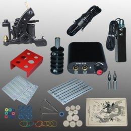 Wholesale Complete Tattoo kits wrap coils guns machine black tattoo machine power supply disposable needle