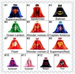 Wholesale L70 W70CM Double Side batman superman cape mask Reversible Superhero Cape supergirl cape mask set new arrival
