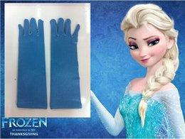 Wholesale Frozen Princess Elsa Long Blue Gloves Full Finger Kids Children Girl Glove Cartoon Party Costume Winter Warm Mittens Free DHL Factory Price
