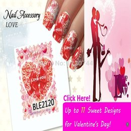 Wholesale BeautyGaGa Sweet Valentines Day Watermark Transfers D Nail Stickers Tips Sticker Design Nail Art Decoration Manicure