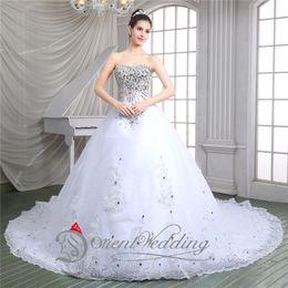 Wholesale New Arrival Hot Sale Sweetheart Chapel Train Floor Length Beaded Rhinestones Bridal Gowns Elegant A Line Applique Wedding Dresses In Stock