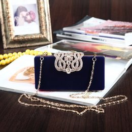 Wholesale Bridal Hand Bags Rhinestone Crystal Red Ladies Prom Party Clutches Purse Bags Chain Bag Bridesmaid Wedding Accessories Blue Purple EB014