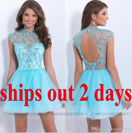 Wholesale Cheap Short Sky Blue Homecoming Dresses with Backless Occasion Dress A Line High Neck Crystal Beaded IN STOCK formal Cocktail Dresses