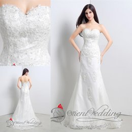 Wholesale New Style Ivory white Long Tulle Strapless Applique Mermaid Trumpet Bridal Gown Wedding Dresses Size In Stock Real Photos