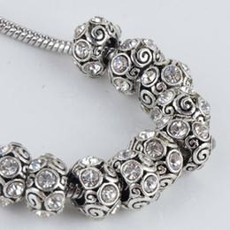 Wholesale Bulk Trendy Clear Rhinestone Spiral Tibet Silver European Big Hole Charm Beads Fit Bracelet