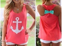 Wholesale S new cheap Fashion Women Summer Anchor print Vest shirts sexy backless Casual Tank Tops