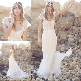 Wholesale 2015 Exquisite Sheath Anna Campbell Wedding Dresses V Neck Backless Capped Short Sleeve Floor Length Chiffon Beaded Crystal Bridal Gowns
