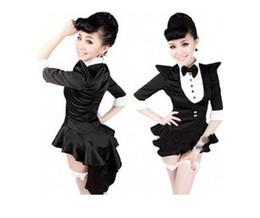 Wholesale 2015 trajes de dança de jazz de uniformes para mulheres sexy trajes de halloween pretos de smoking trajes de vestir de palco de teatro de mágico de broadway vestidos