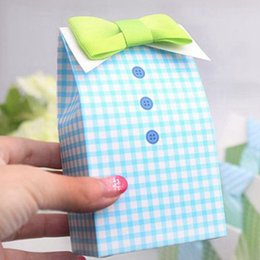 Wholesale 2015 Luxurious Green Blue Tie Design Gift Wedding Box For Candy Favor Boxes