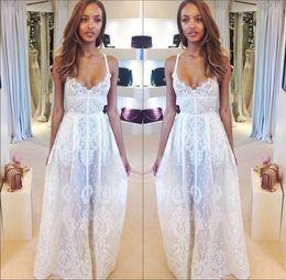 Wholesale Summer Beach Wedding Dresses Spaghetti Straps Boho A Line Lace Wedding Dresses Backless Sheer Bridal Gown Long Prom Dresses New BO5800