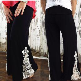 Wholesale 2015 Women Casual Wide Leg Long Stretch Pants Bohemian Loose Palazzo Trousers Lace casual pants