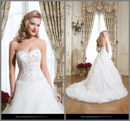 Wholesale 2015 New Arrival Empire Princess High Quality Sweetheart Beading Ruffle Ball Gown Net Sweep Train Wedding Dresses