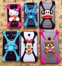 Wholesale DHL iphone s Universal Silicone Bumper Frame Cartoon Character Case Mickey Bear Stitch Monster Doll for iPhone s plus Samsung s6 HTC Sony
