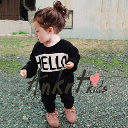 Wholesale HIgh QUality quot Hello quot quot Bye quot Toddler Baby Knitwear CLothing Cotton Toddler Winter Warm Clothing Casual Wear Thicken Wear