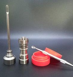 Bong Tool Set Carb Cap T-002 14mm & 18mm Domeless Gr2 Titanium Nail Dabber Slicone Jar Glass Bong Smoking Water Pipes