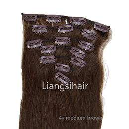 "22"" 24"" 26""80g 100g 120g 4# medium brown Clip in Hair Extensions Brazilian virgin Human Hair Extensions 7pcs One Lot in Factory Price ST012"