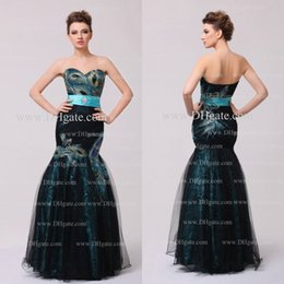 Wholesale Mermaid Prom Dresses Peacock Applique Sweetheart Neck Lace Floor Length Prom Gowns Party Dresses Dhyz