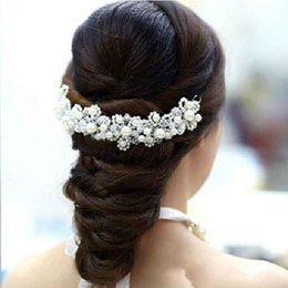 Wholesale Fashion Bridal Hair Accessories Shiny Crystal Pearls Bridal Crown Wedding Tiara Pearls Hair Accessories Head Pieces