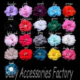 Wholesale 20color Chic Chiffon Pearl Rhinestone Flowers Artificial Flower Fabric Flowers Hair Accessories Christmas Hair Flower For Headbands