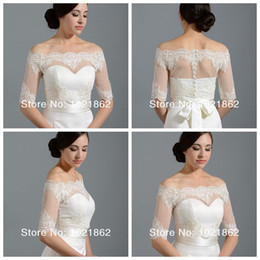 Wholesale Off Shoulder Alencon Lace Bolero Jacket Illusion Half Sleeve Covered Button Jackets Bridal Shrug Bride Wraps Wedding Dress accessories Shawl