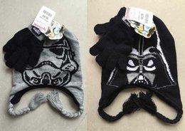 Wholesale 2 Color Baby Star Wars gloves crochet hats NEW children cartoon Wars crochet Costume Handmade Crochet Knitted Hat B001