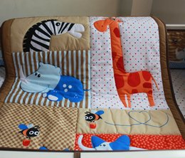 Wholesale 2016 New D stereo embroidery giraffe hippo elephants bees Pieces Children s Nursery Bedding Quilt Bumper Fitted Sheet Baby Bedding set