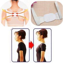 Wholesale Adjustable Therapy Back Support Brace Belt Band Posture Shoulder Corrector White Health Care Tools