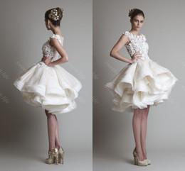 Wholesale 2015 Vintage Short Ball Gown Wedding Dresses Krikor Jabotian Cap Bateau Lace Tiered Knee Length Short Party Prom Cocktail Dress Bridal Gowns