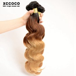 Discount ombre human hair wave 50g Ombre Body Wave 1b 4 27 Human Hair weft Indian Human Hair Extension 6A Hair Weave