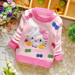 Wholesale Little Baby Girls Sweaters For Autumn New Korean Cartoon Cut Cat Sweet Long Sleeve Children Sweaters Pullover Clothing