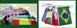 Free shipping the 100 countries national flag hanging festival chain flag 14 * 21 cm World Banner Bunting bar party decoration